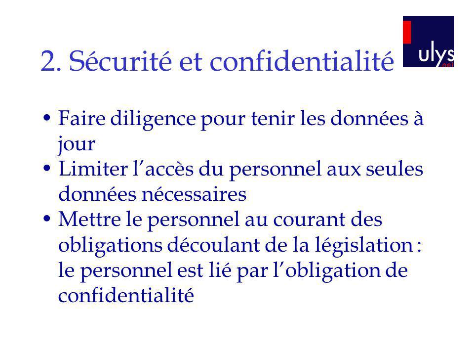 2. Sécurité et confidentialité