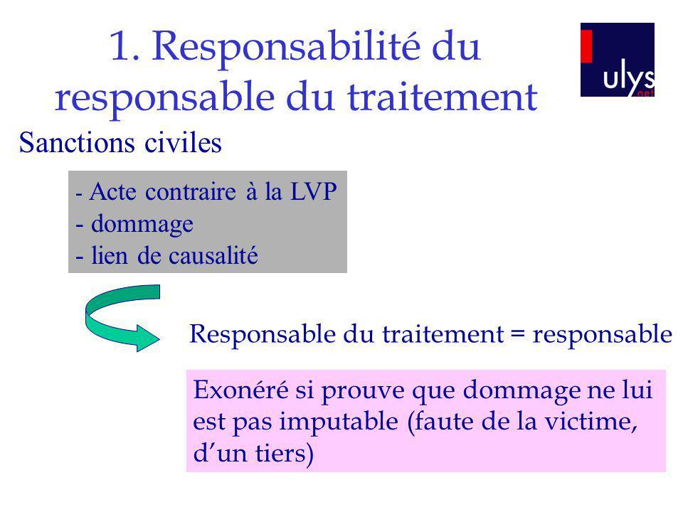 1. Responsabilité du responsable du traitement