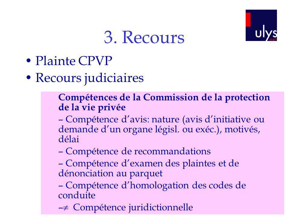 3. Recours Plainte CPVP Recours judiciaires