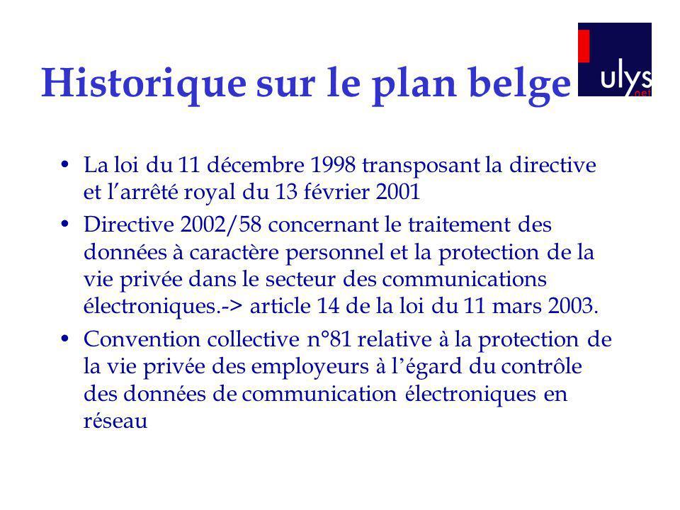 Historique sur le plan belge