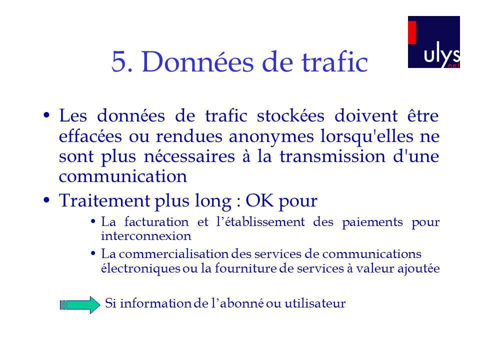 5. Données de trafic