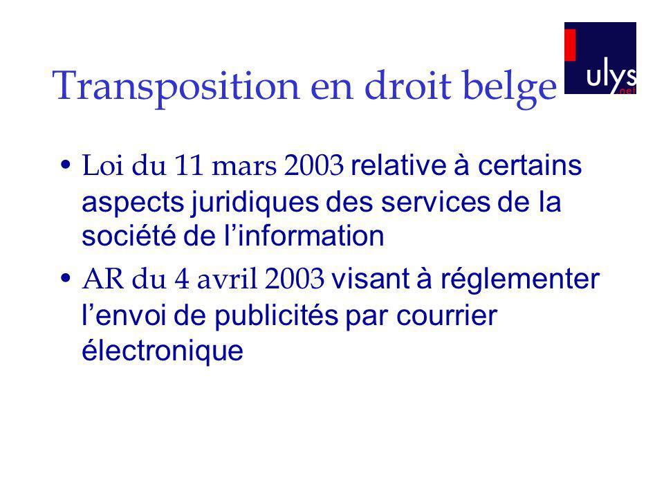 Transposition en droit belge