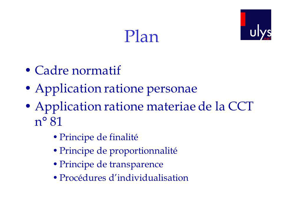 Plan Cadre normatif Application ratione personae