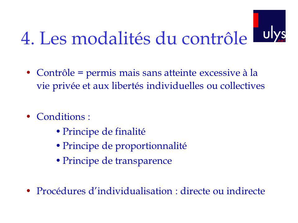 4. Les modalités du contrôle