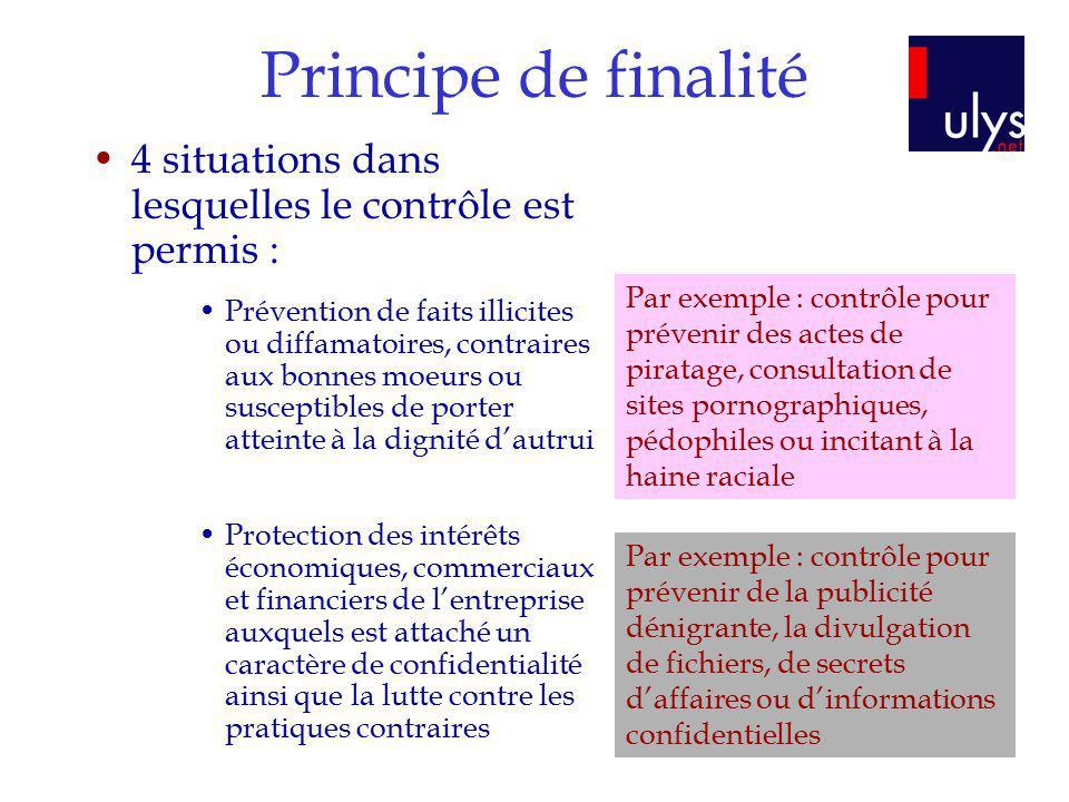 Principe de finalité 4 situations dans lesquelles le contrôle est permis :