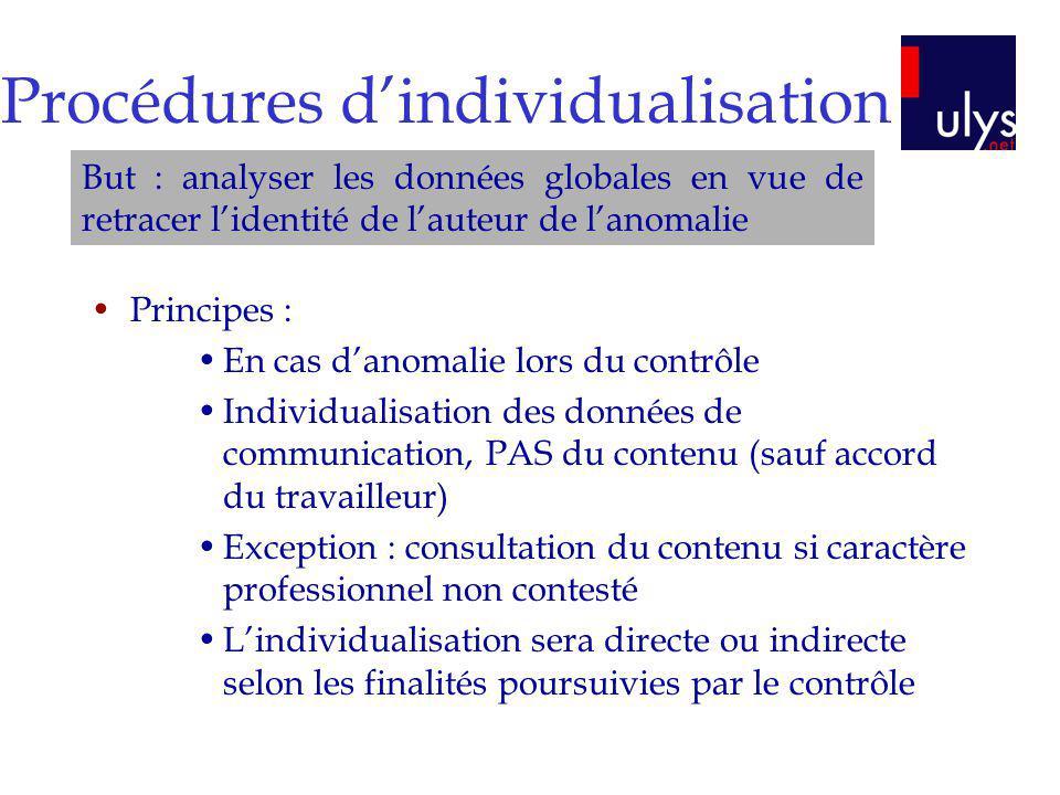 Procédures d'individualisation