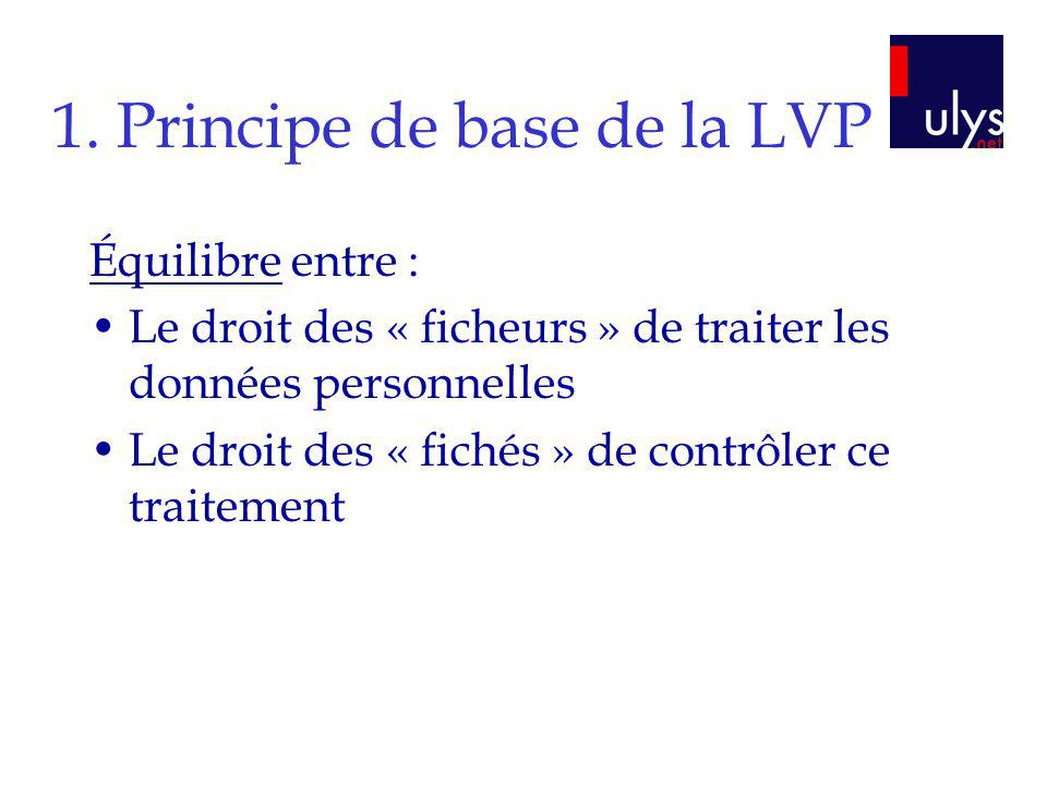 1. Principe de base de la LVP