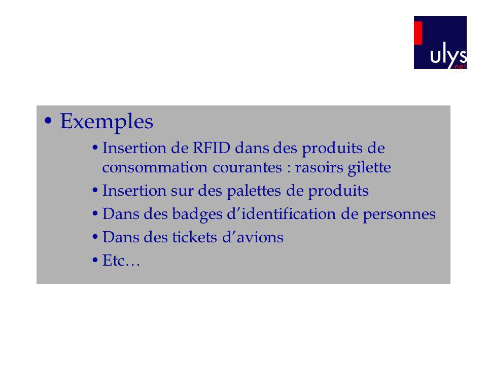 Exemples Insertion de RFID dans des produits de consommation courantes : rasoirs gilette. Insertion sur des palettes de produits.