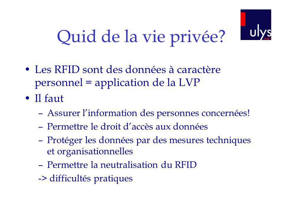 Quid de la vie privée Les RFID sont des données à caractère personnel = application de la LVP. Il faut.