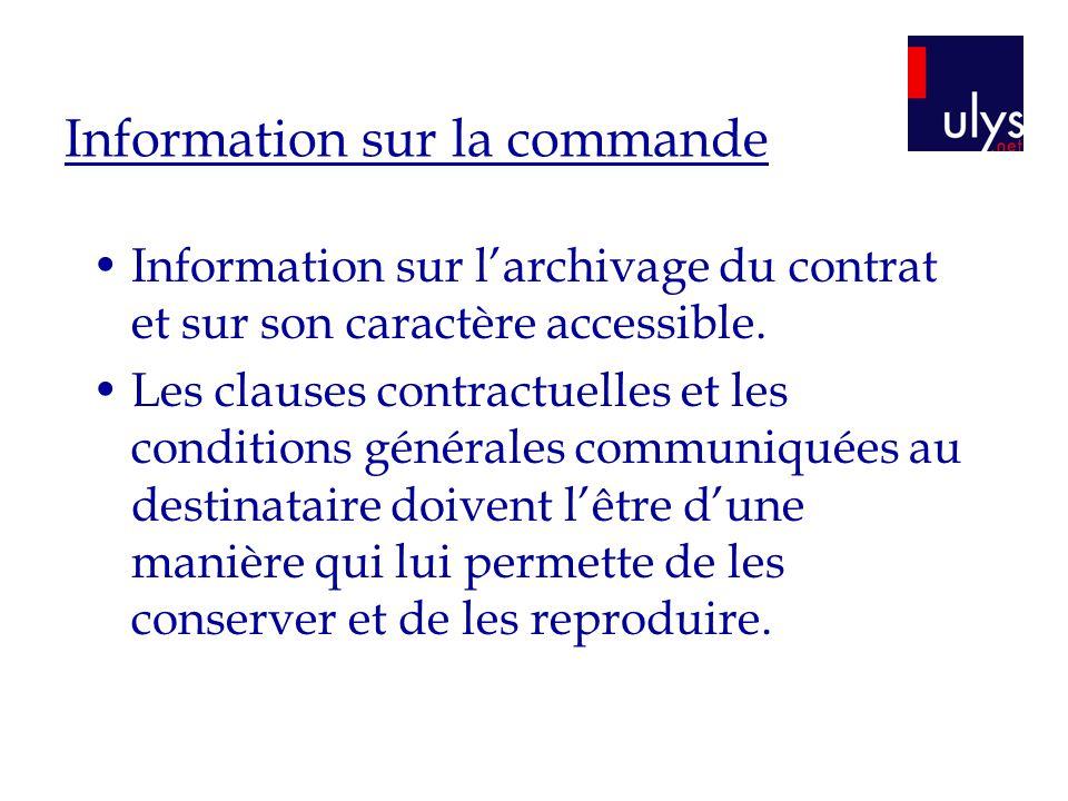 Information sur la commande