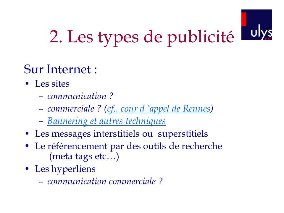 2. Les types de publicité Sur Internet : Les sites communication