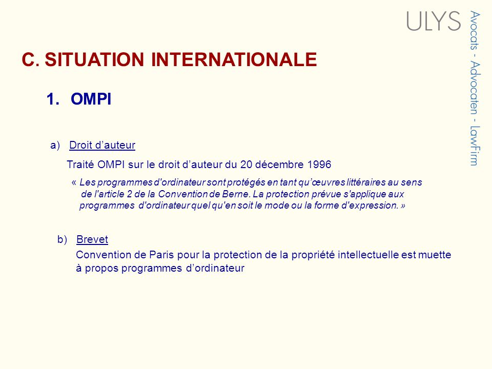 C. SITUATION INTERNATIONALE