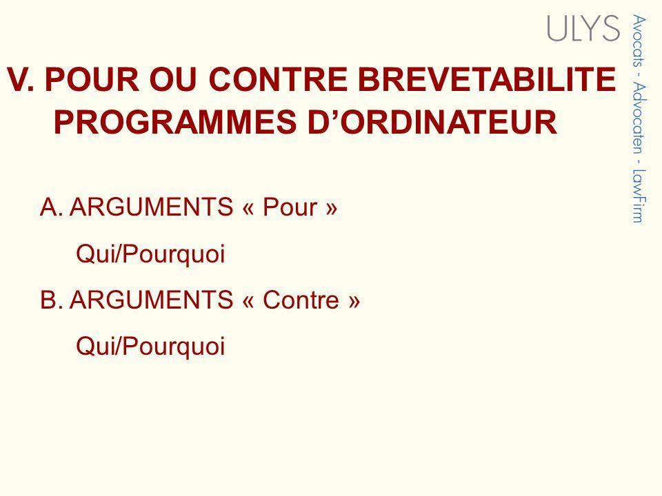 V. POUR OU CONTRE BREVETABILITE PROGRAMMES D'ORDINATEUR