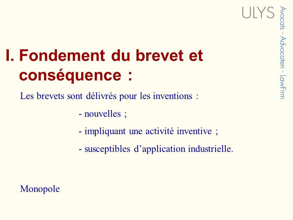 I. Fondement du brevet et conséquence :