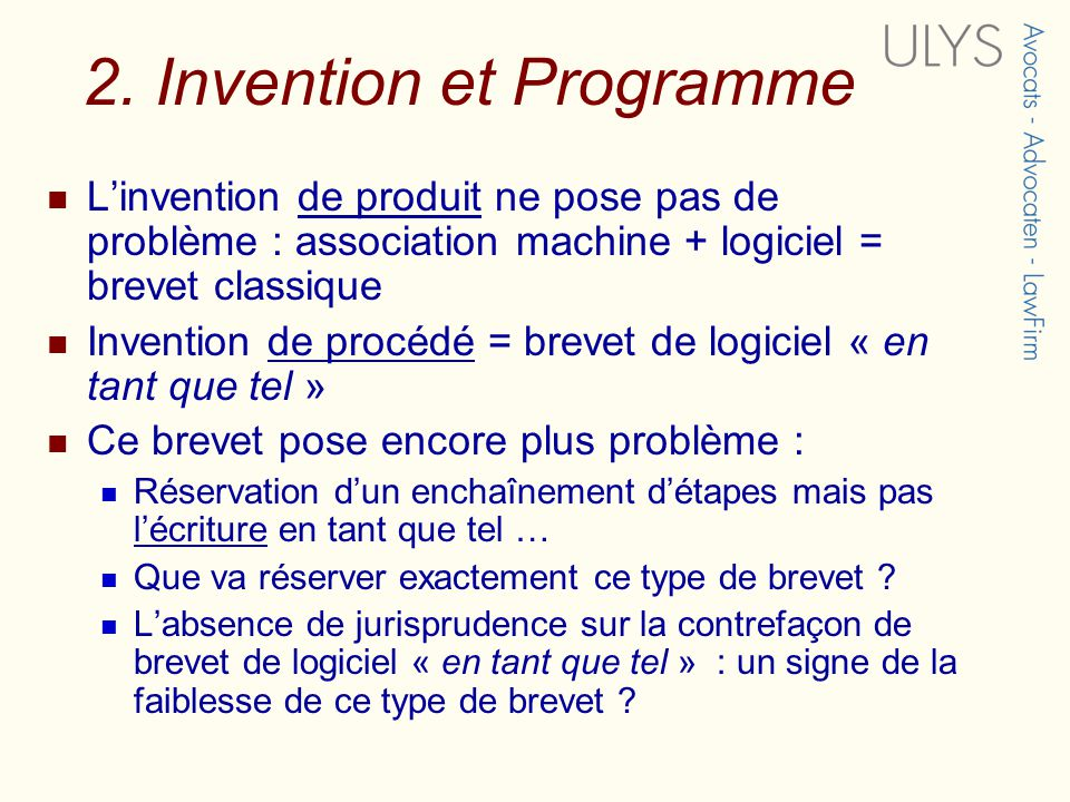 2. Invention et Programme