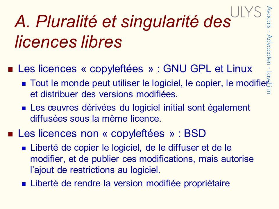 A. Pluralité et singularité des licences libres
