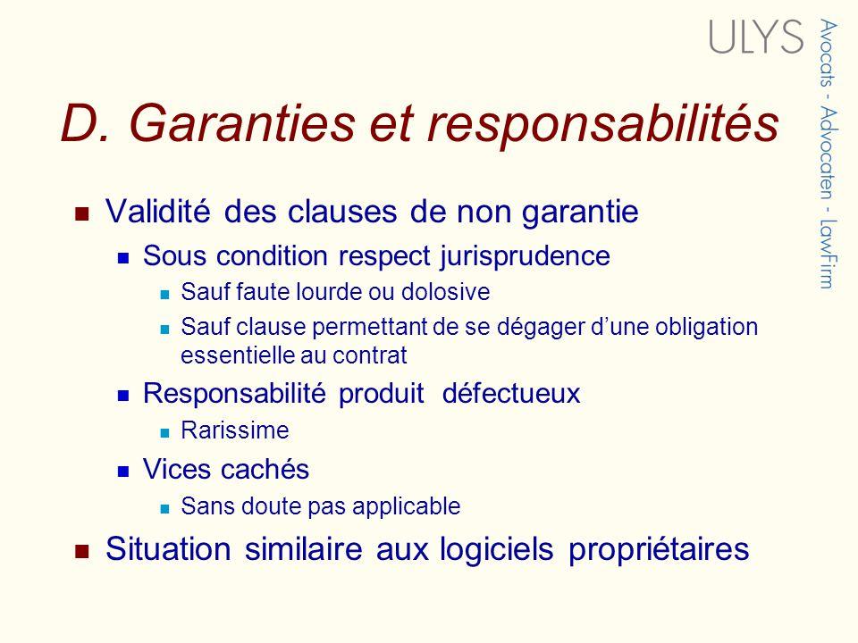 D. Garanties et responsabilités