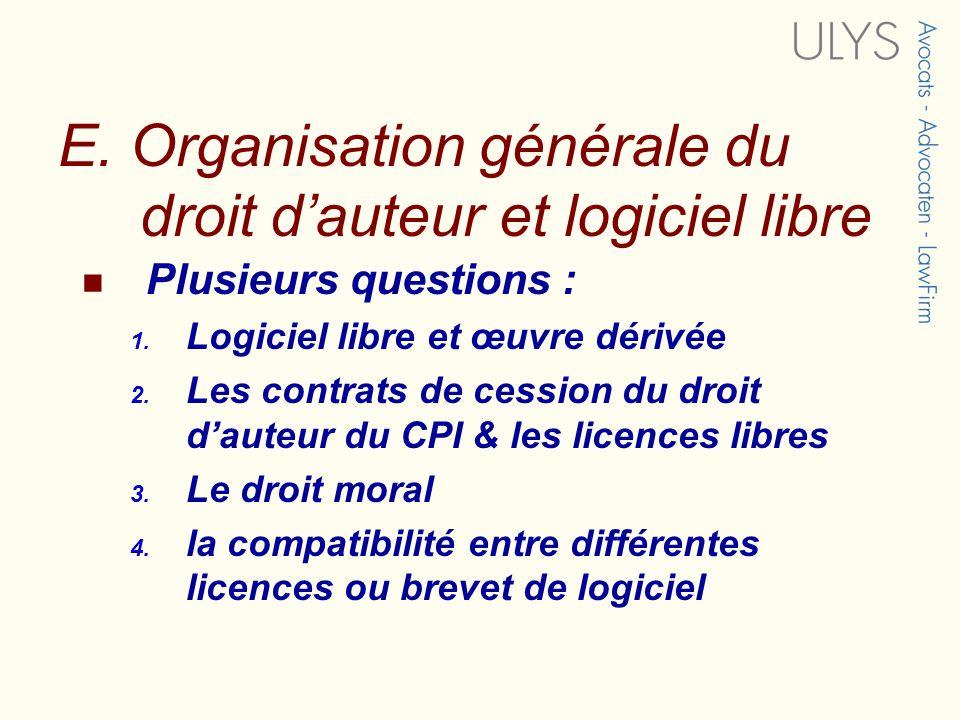 E. Organisation générale du droit d'auteur et logiciel libre