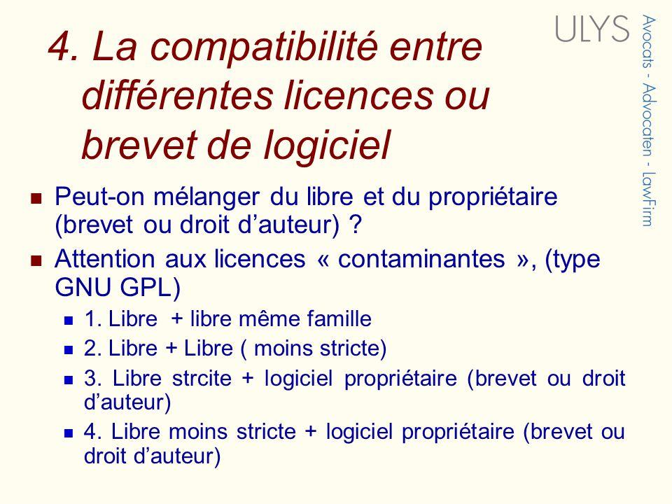 4. La compatibilité entre différentes licences ou brevet de logiciel