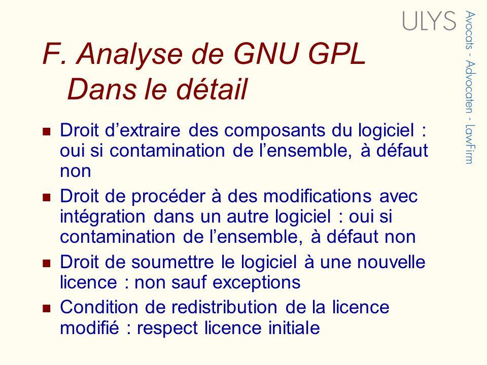 F. Analyse de GNU GPL Dans le détail