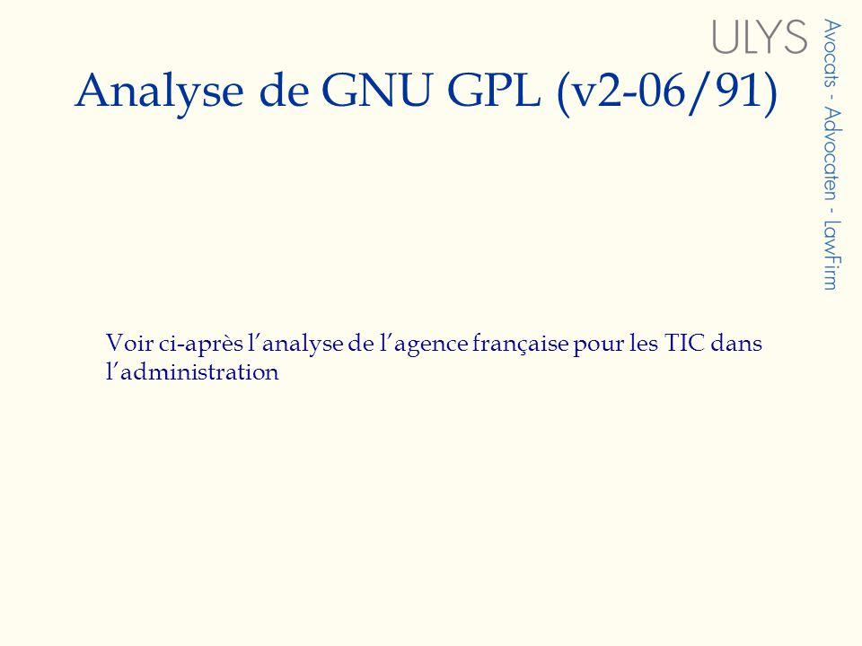 Analyse de GNU GPL (v2-06/91)