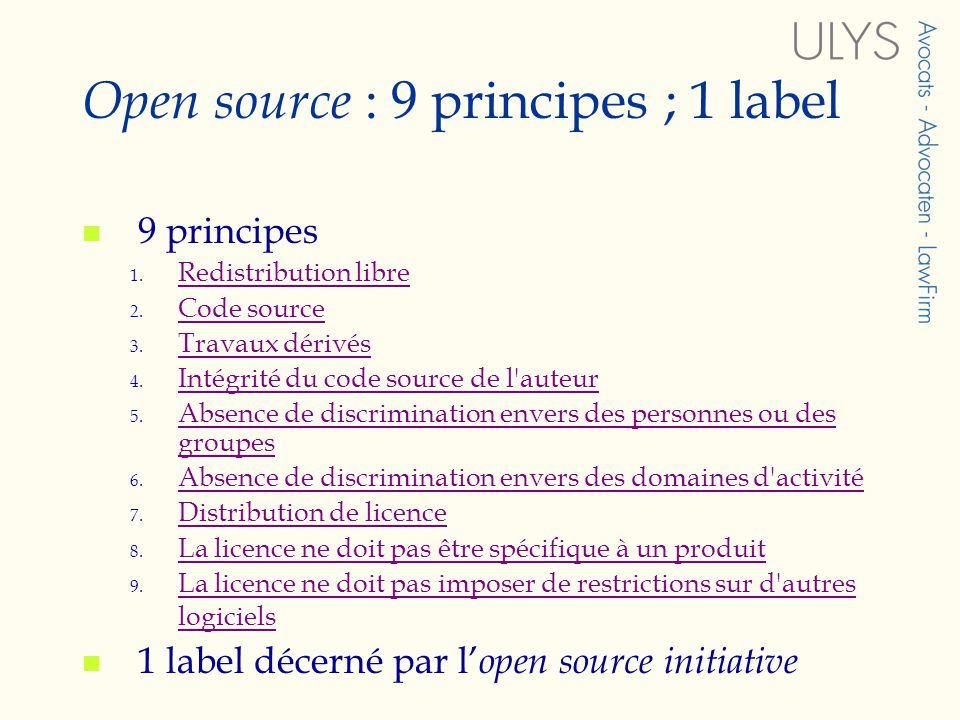 Open source : 9 principes ; 1 label