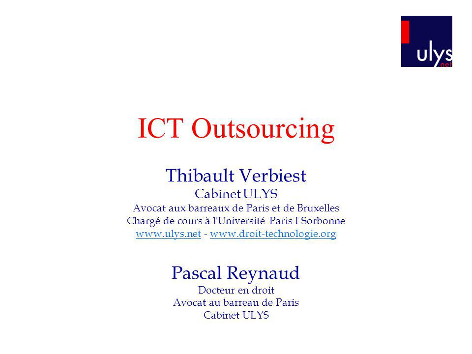 ICT Outsourcing Thibault Verbiest Pascal Reynaud Cabinet ULYS