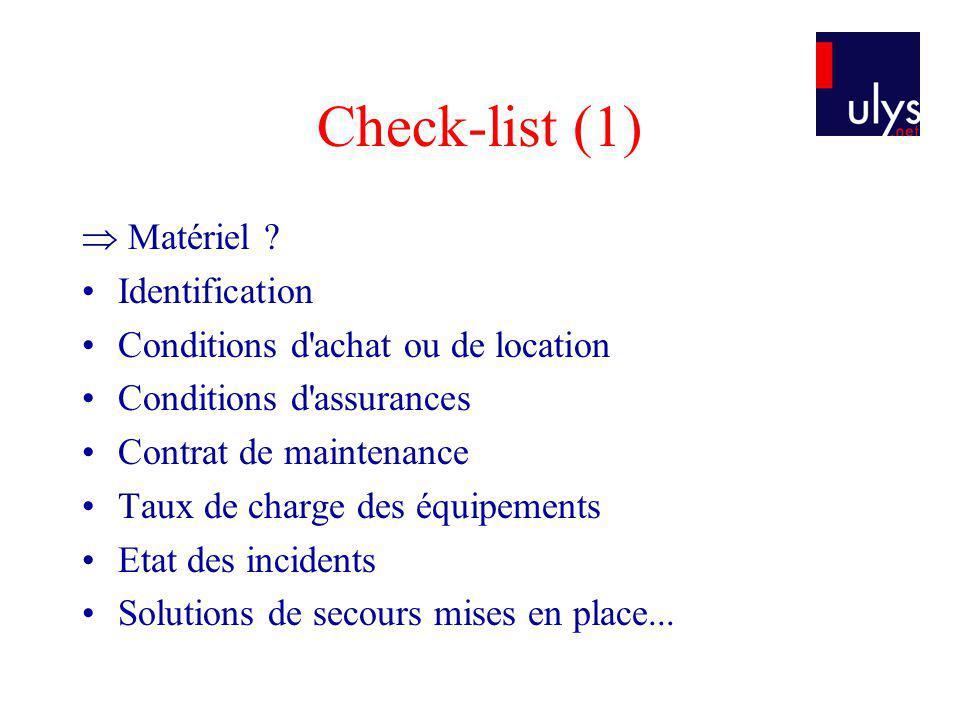 Check-list (1)  Matériel Identification