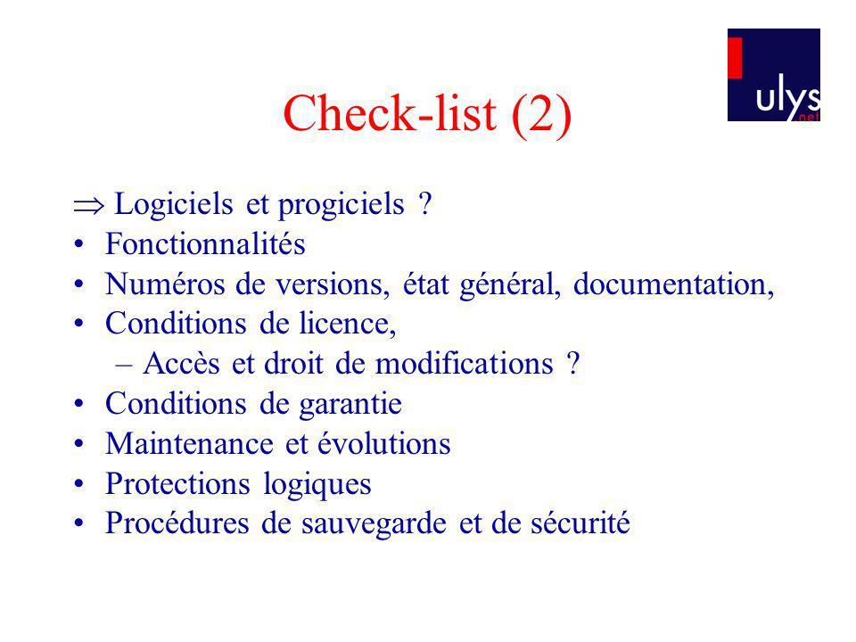Check-list (2)  Logiciels et progiciels Fonctionnalités