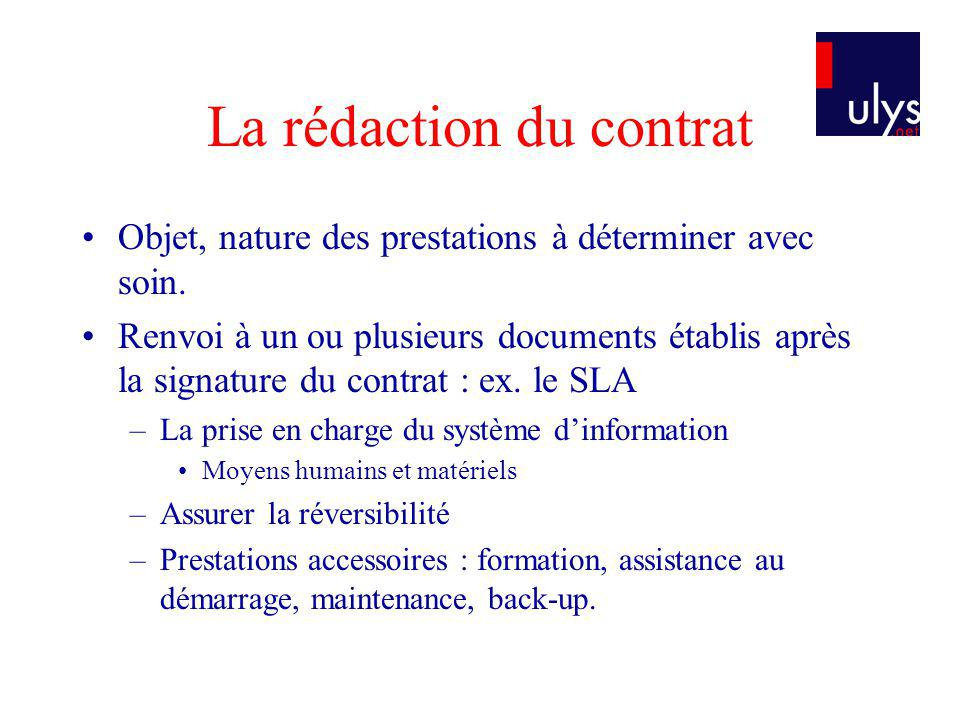 La rédaction du contrat