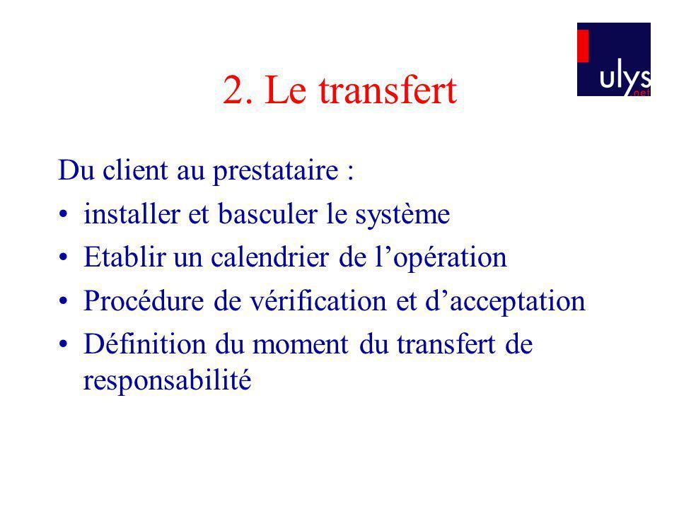 2. Le transfert Du client au prestataire :