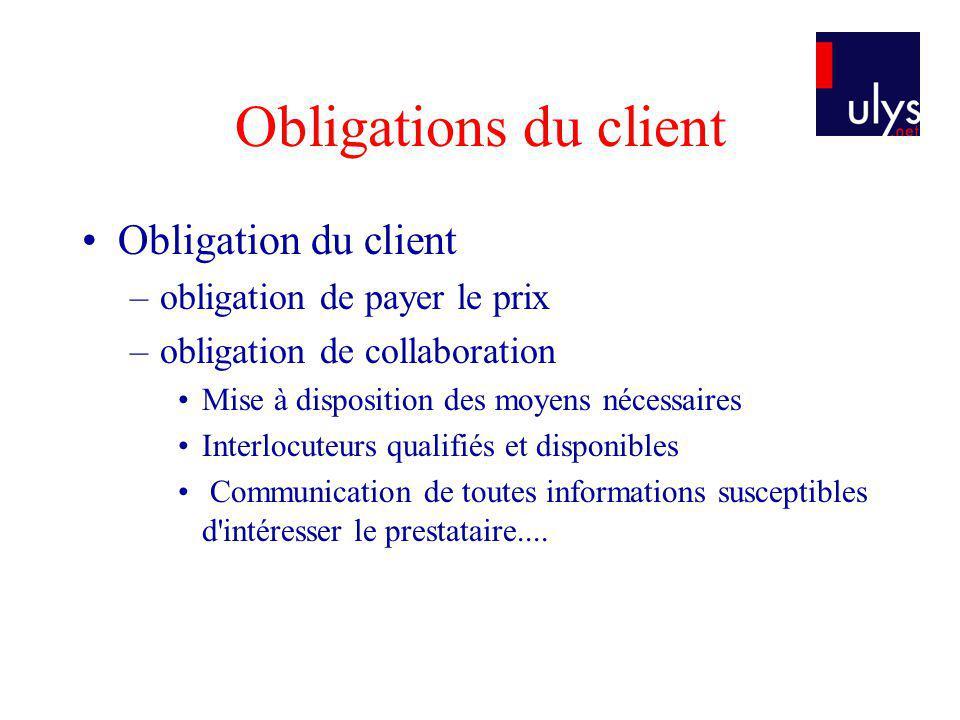Obligations du client Obligation du client obligation de payer le prix