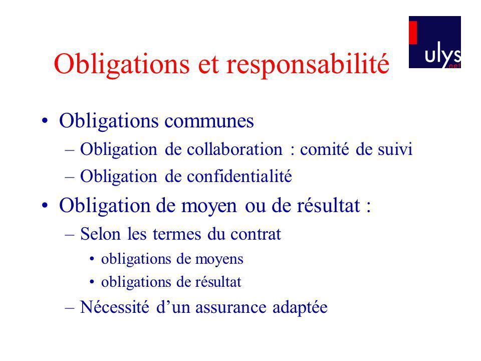 Obligations et responsabilité