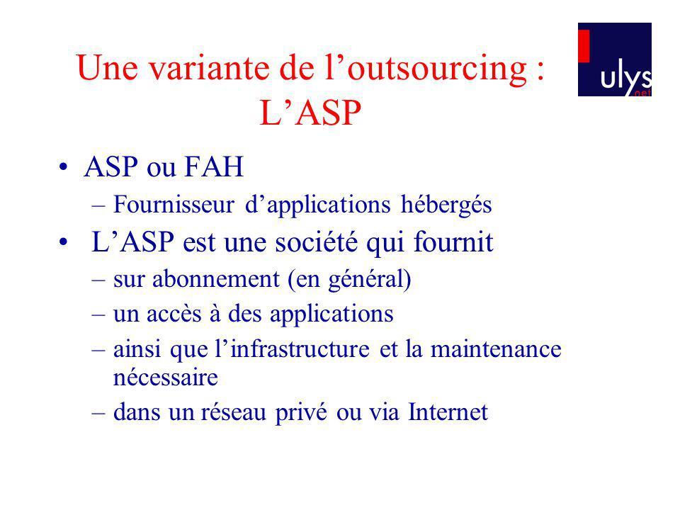 Une variante de l'outsourcing : L'ASP