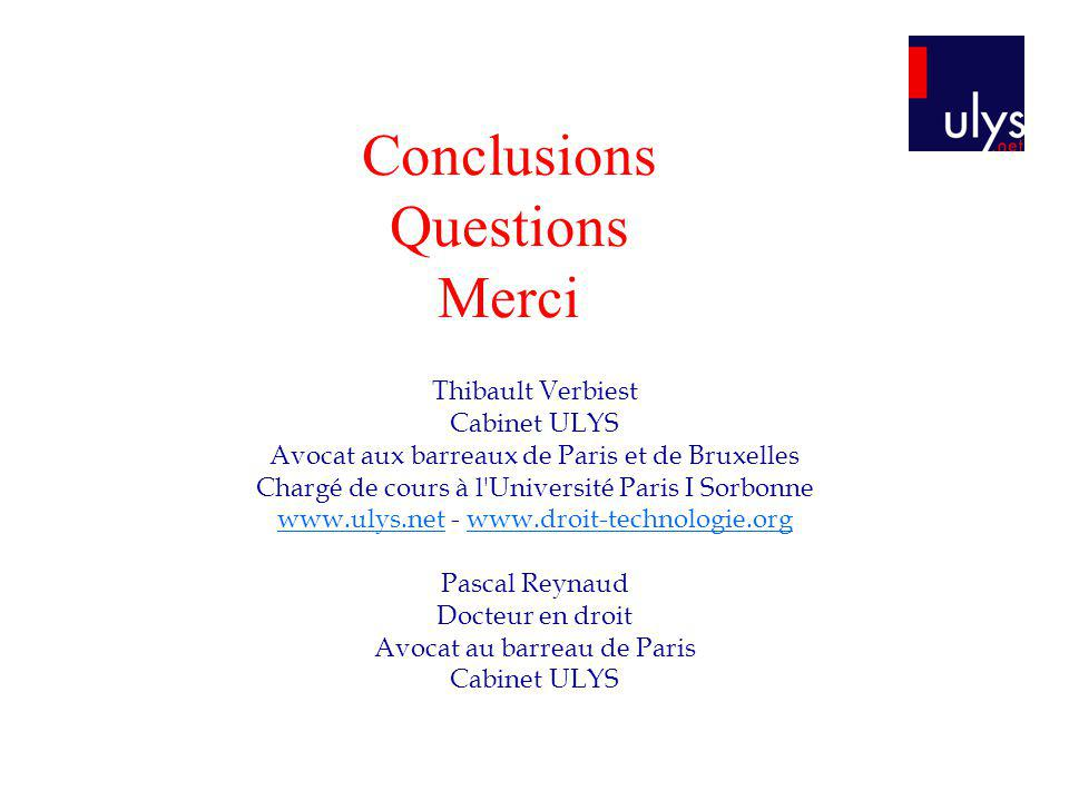Conclusions Questions Merci