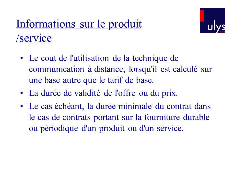 Informations sur le produit /service