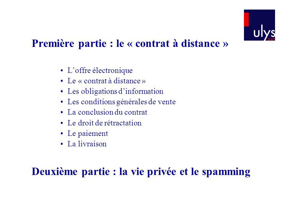 Première partie : le « contrat à distance »