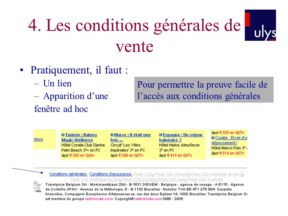 4. Les conditions générales de vente