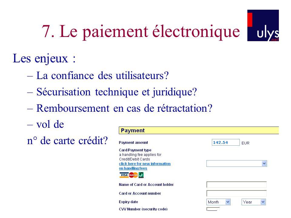 7. Le paiement électronique