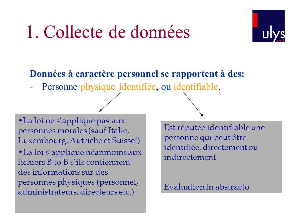 1. Collecte de données Données à caractère personnel se rapportent à des: - Personne physique identifiée, ou identifiable.