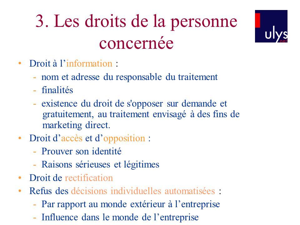 3. Les droits de la personne concernée