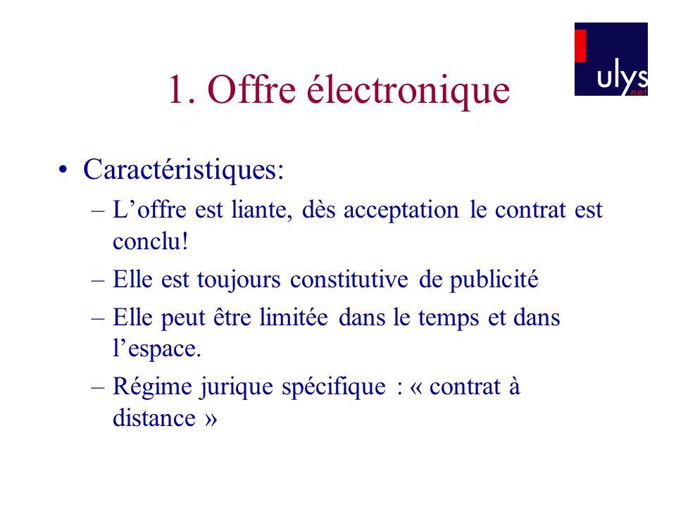 1. Offre électronique Caractéristiques: