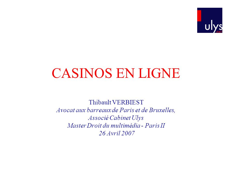 CASINOS EN LIGNE Thibault VERBIEST