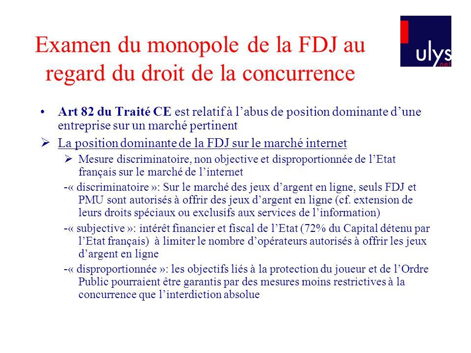 Examen du monopole de la FDJ au regard du droit de la concurrence