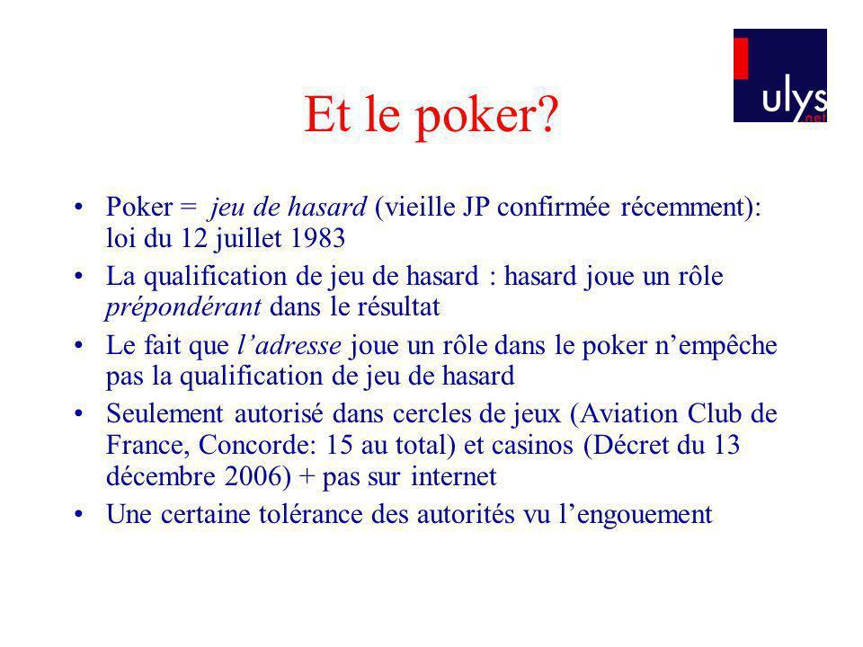 Et le poker Poker = jeu de hasard (vieille JP confirmée récemment): loi du 12 juillet 1983.