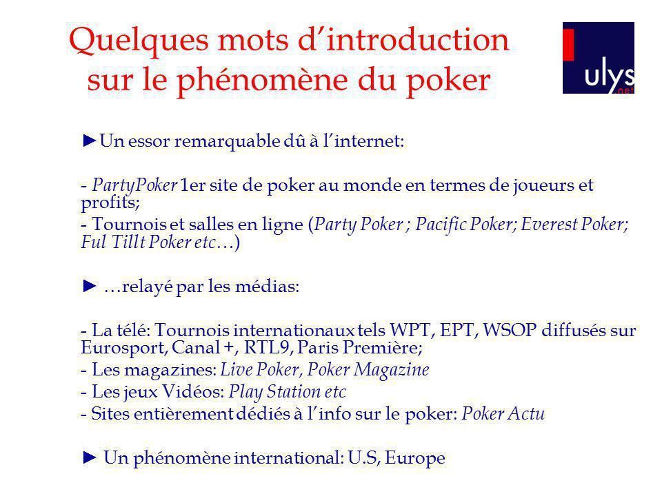 Quelques mots d'introduction sur le phénomène du poker