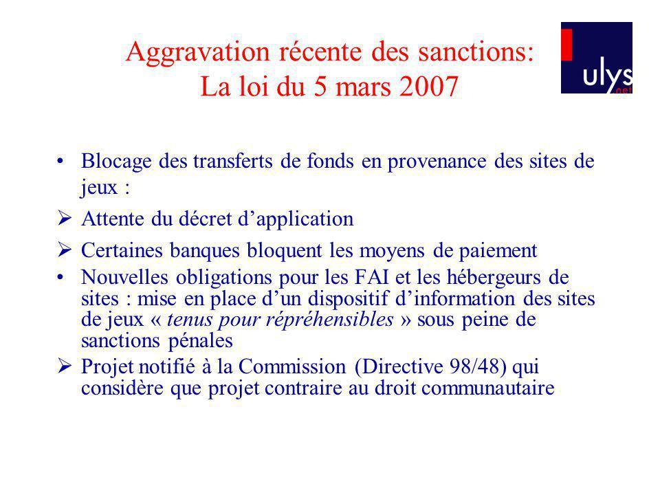 Aggravation récente des sanctions: La loi du 5 mars 2007