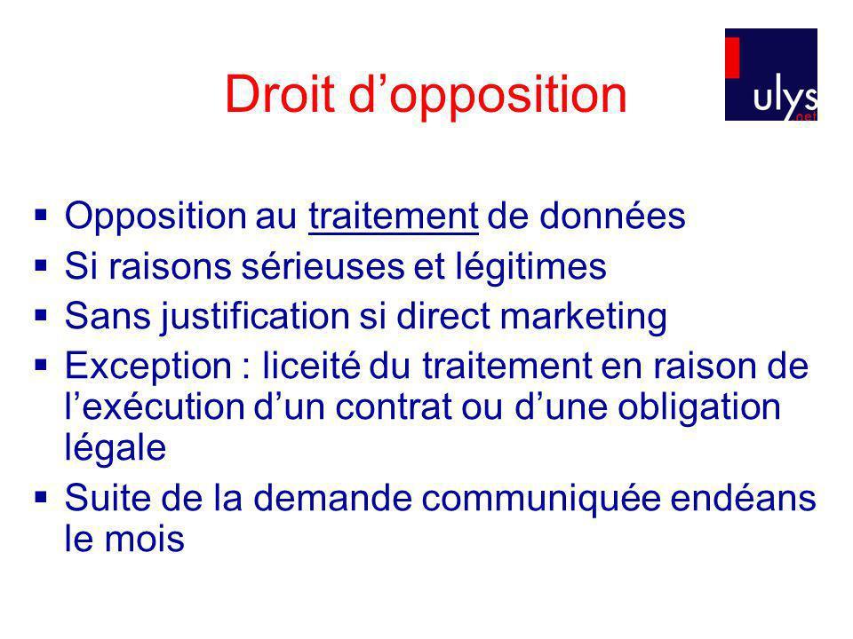 Droit d'opposition Opposition au traitement de données