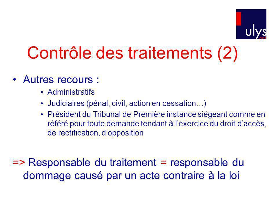 Contrôle des traitements (2)