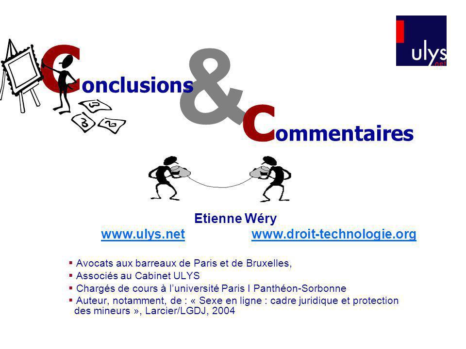 & Conclusions commentaires Etienne Wéry